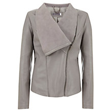 Buy Mint Velvet Leather Biker Jacket, Dove Online at johnlewis.com
