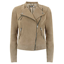 Buy Mint Velvet Suede Collarless Biker Jacket, Camel Online at johnlewis.com