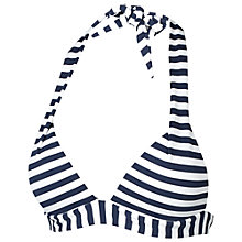 Buy Fat Face Breton Stripe Cody Bikini Top, Navy/Cream Online at johnlewis.com