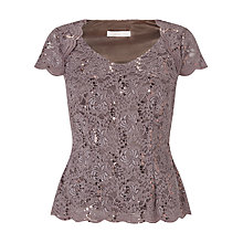 Buy Jacques Vert Sequin Lace Jersey Top, Brown Online at johnlewis.com