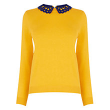 Buy Oasis Lace Collar Jumper, Ochre Online at johnlewis.com