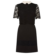 Buy Oasis Lace Striped Collar Skater Dress, Black Online at johnlewis.com