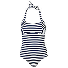Buy Fat Face Breton Empire Swimsuit, Navy/Cream Online at johnlewis.com