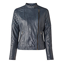 Buy Jigsaw Quilted Washed Biker Jacket Online at johnlewis.com