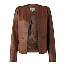 Buy Jigsaw Leather Edge To Edge Jacket, Tobacco Online at johnlewis.com