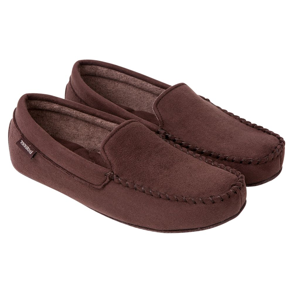 Totes Totes Suedette Mocassin Slippers, Brown