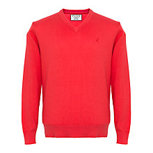 Buy Thomas Pink Horseley V-Neck Jumper, Deep Pink Online at johnlewis.com
