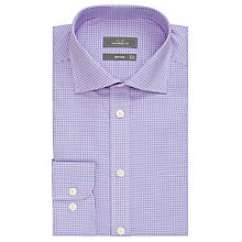Buy John Lewis Non Iron Mini Check Puppytooth Tailored Shirt, Navy/Pink Online at johnlewis.com