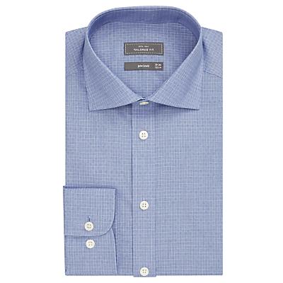 Image of John Lewis Non Iron Mini Square Tailored Fit Shirt, Navy/White