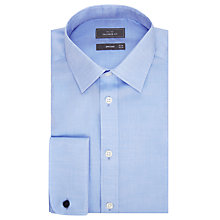 Buy John Lewis Non Iron Twill Double Cuff Tailored Fit Shirt, Blue Online at johnlewis.com