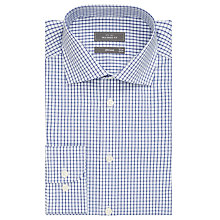 Buy John Lewis Non Iron Grid Check Tailored Shirt, White/Navy Online at johnlewis.com