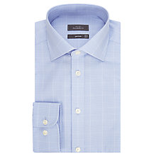 Buy John Lewis Non Iron Large Graphic Check Tailored Fit Shirt, Light Blue Online at johnlewis.com
