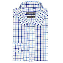 Buy John Lewis Non Iron Large Check Regular Fit Shirt, Navy/White Online at johnlewis.com