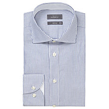 Buy John Lewis Luxury Oxford Stripe Tailored Fit Shirt, Navy/White Online at johnlewis.com
