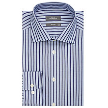 Buy John Lewis City Stripe Non Iron Tailored Fit Shirt, Navy/White Online at johnlewis.com