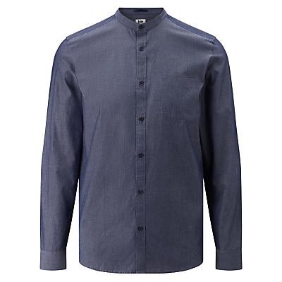 Image of Kin by John Lewis Chambray Mandarin Collar Pocket Shirt, Navy