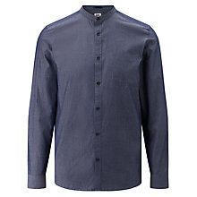 Buy Kin by John Lewis Chambray Mandarin Collar Pocket Shirt, Navy Online at johnlewis.com