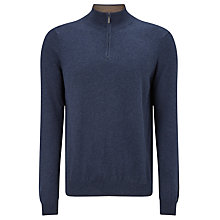 Buy John Lewis Cotton Cashmere Zip Neck Jumper, Navy Online at johnlewis.com