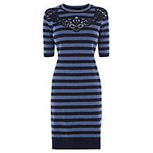 Buy Karen Millen Stripe Lace Detail Dress, Blue/Black Online at johnlewis.com