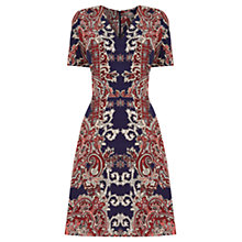 Buy Oasis Paisley V Neck Skater Dress, Multi/Blue Online at johnlewis.com
