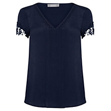 Buy Oasis Pintuck Lace Trim Top, Navy Online at johnlewis.com