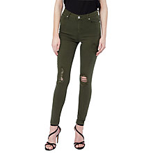 Buy Miss Selfridge Lizzie Rip Jeans, Khaki Online at johnlewis.com