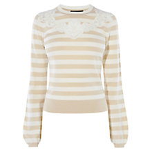 Buy Karen Millen Stripe Lace Detail Jumper, Neutral Online at johnlewis.com