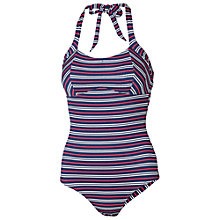 Buy Fat Face Varigated Stripe Empire Swimsuit, Navy Online at johnlewis.com
