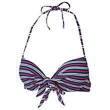 Buy Fat Face Varigated Stripe Plunge Bikini Top, Navy Online at johnlewis.com