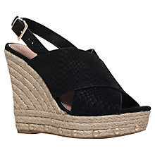 Buy KG by Kurt Geiger March Wedge Heeled Sandals, Black Suede Online at johnlewis.com