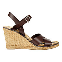 Buy Jigsaw Sia Wedge Heeled Espadrille Sandals, Chocolate Leather Online at johnlewis.com
