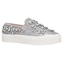 Buy Carvela Luxor Fabric Plimsolls, Silver Online at johnlewis.com
