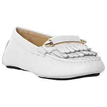 Buy Dune Black Graye Double Fringe Driving Loafers, White Leather Online at johnlewis.com
