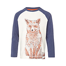 Buy John Lewis Boys' Fox Raglan Long Sleeve T-Shirt, Cream/Navy Online at johnlewis.com