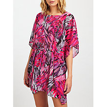 Buy John Lewis Feather Print Kaftan, Pink/Grey Online at johnlewis.com