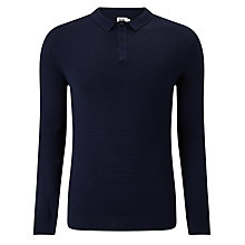 Buy Kin by John Lewis Texture Stitch Long Sleeve Polo Shirt, Navy Online at johnlewis.com
