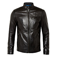 Buy Ted Baker Upside Leather Jacket, Black Online at johnlewis.com