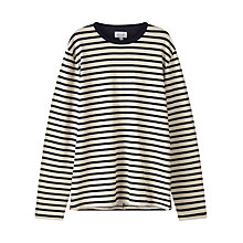 Buy Jigsaw Breton Stripe Long Sleeve T-Shirt, Navy Online at johnlewis.com
