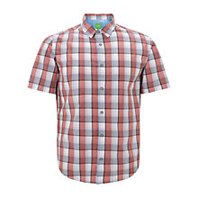 Buy BOSS Green C-Bopazy Short Sleeve Shirt, Open Red Online at johnlewis.com