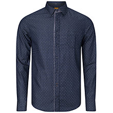Buy BOSS Orange ESlimE Micro Print Shirt, Dark Blue Online at johnlewis.com