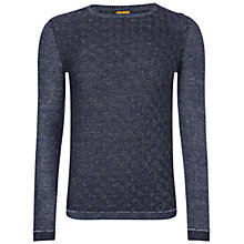 Buy BOSS Orange Akert Cotton Linen Jumper, Medium Blue Online at johnlewis.com
