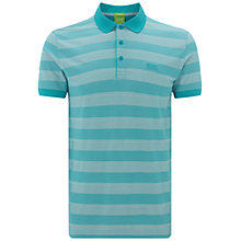 Buy BOSS Green Firenze Striped Polo Shirt, Turquoise/Aqua Online at johnlewis.com