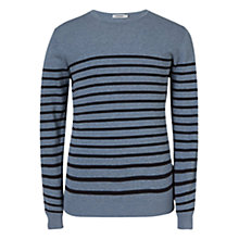 Buy J. Lindeberg Milton Summer Stripe Sweatshirt, Indigo Melange Online at johnlewis.com