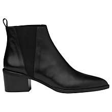 Buy Whistles Belmont Pointed Toe Block Heeled Ankle Boots, Black Leather Online at johnlewis.com