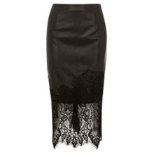 Buy Coast Vega Lace Trim Pencil Skirt, Black Online at johnlewis.com