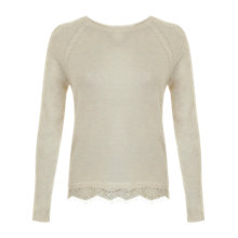 Buy Miss Selfridge Lace Detail Two In One Jumper, Cream Online at johnlewis.com
