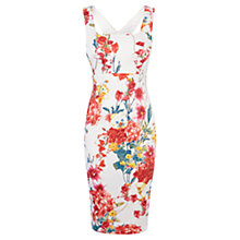 Buy Karen Millen Floral Print Pencil Dress, White/Multi Online at johnlewis.com