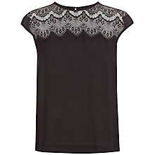 Buy Jaeger Silk Lace Yoke Top, Black Online at johnlewis.com