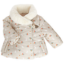 Buy John Lewis Baby Bunny Faux Fur Collar Coat, Cream Online at johnlewis.com
