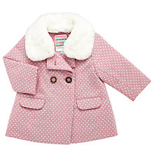Buy John Lewis Baby Fluffy Collar Coat, Pink/White Online at johnlewis.com